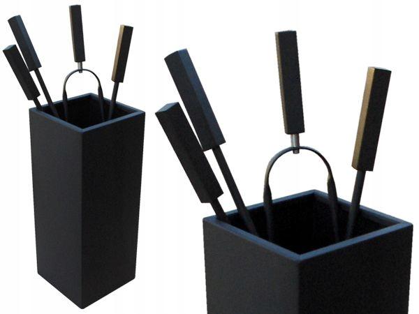 Набор каминных принадлежностей черный матовый 07 шт.