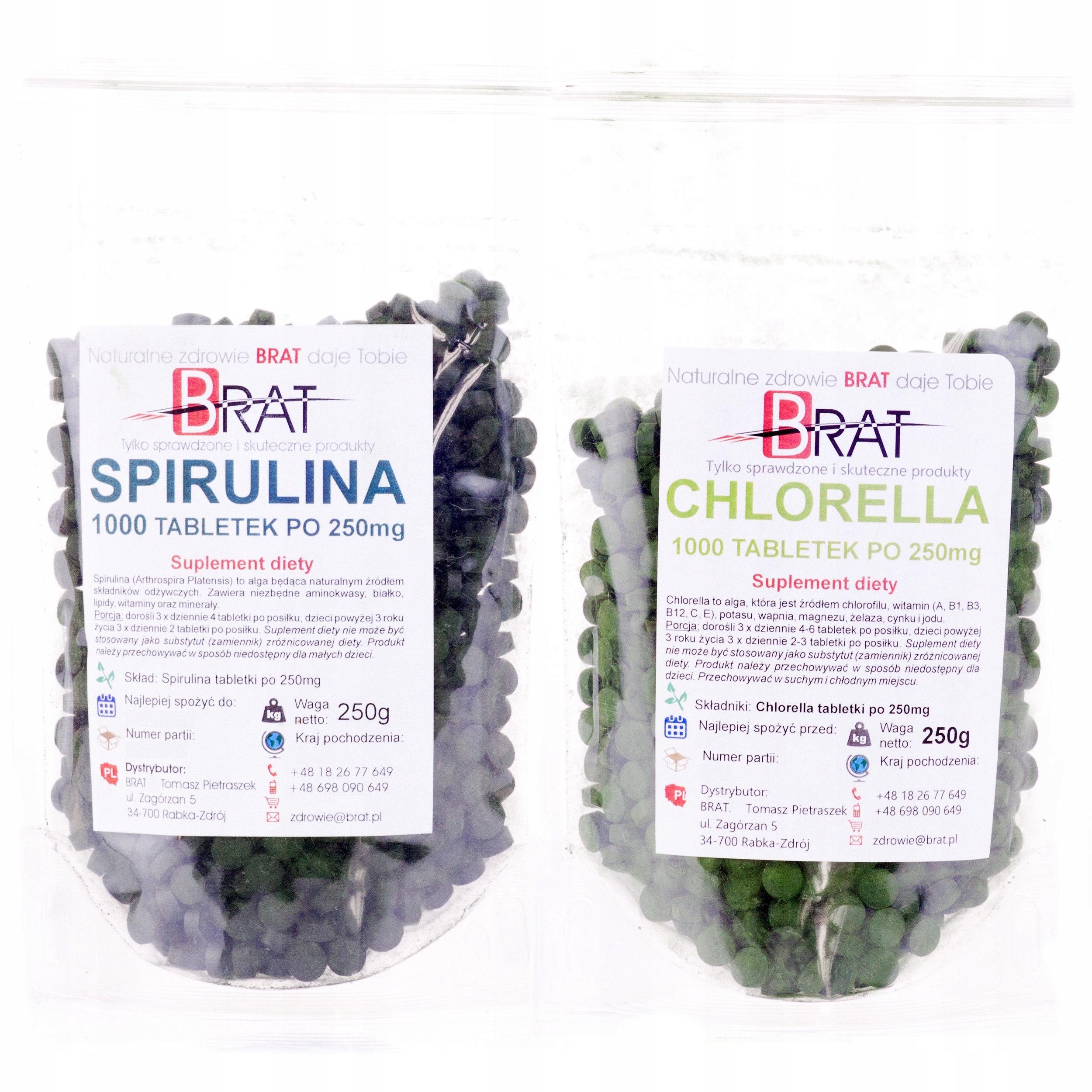 Spirulina + Chlorella ALGI Zestaw 2000 tabletek