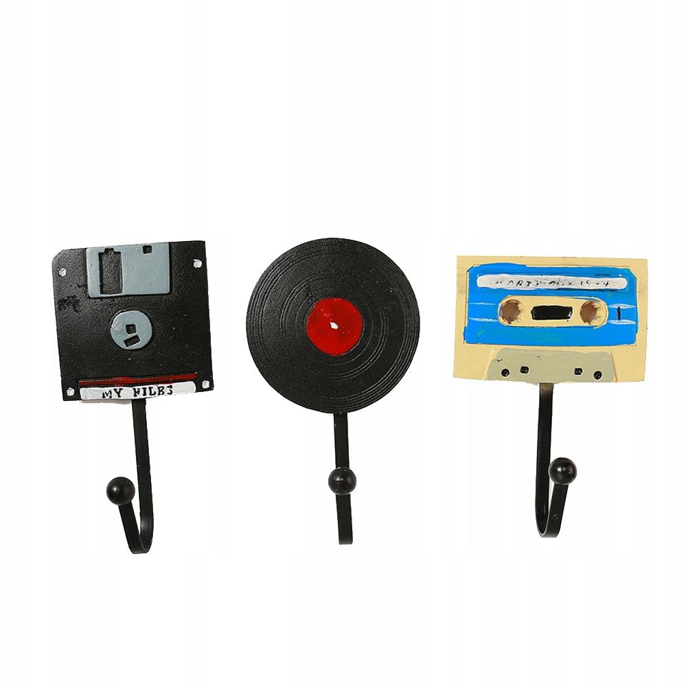 3 ks Háčiky na CD Nahrajte retro dekor