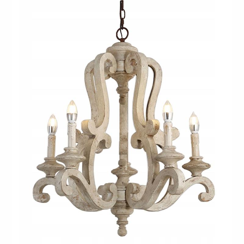Drevený lustr Retro rustikálna prívesková lampa