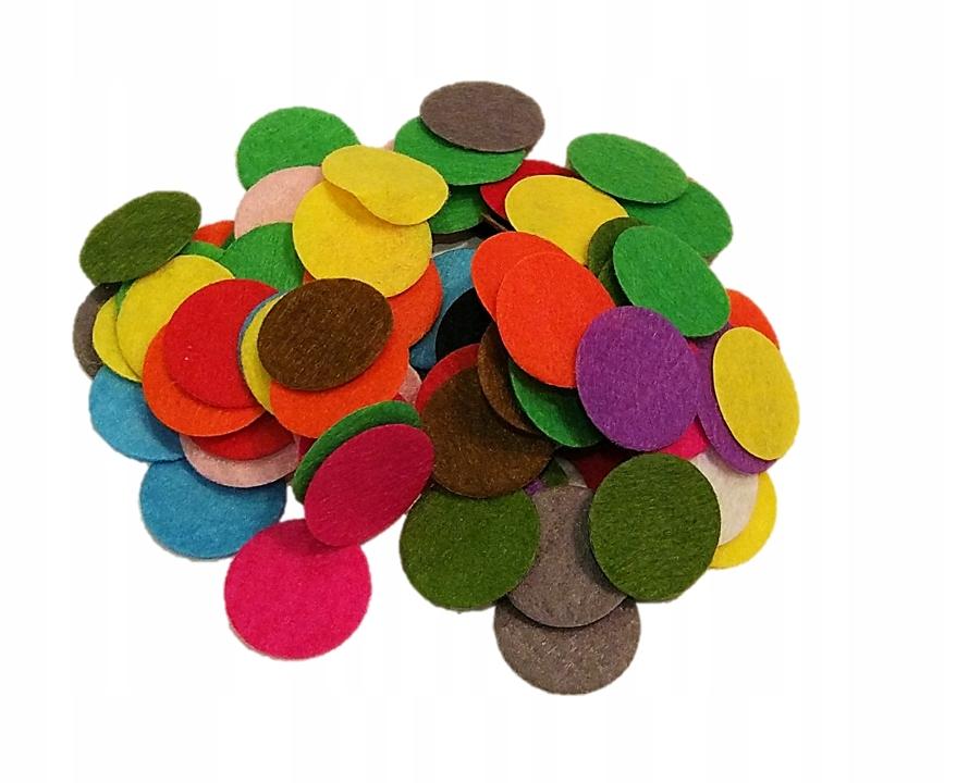 Kolorowe kółeczka filcowe 25mm - 100szt, kreatywne