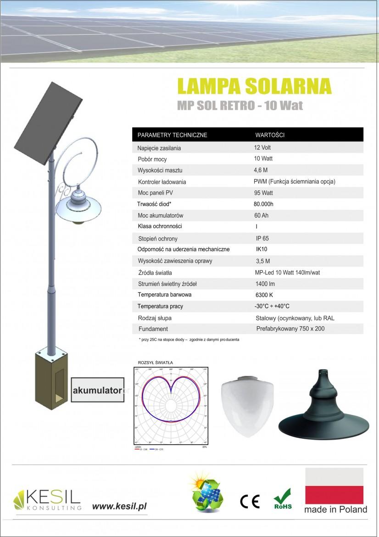 SOLÁRNA LAMPA RETRO 10 WATT