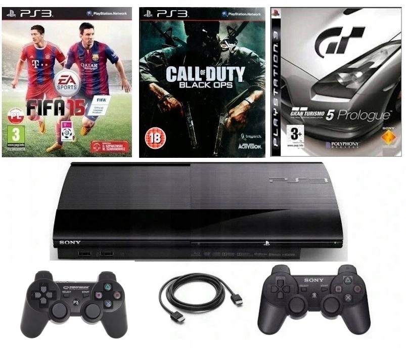 PLAYSTATION 3 PS3 500 GB + 2 x PAD + GRY (GTA V..)