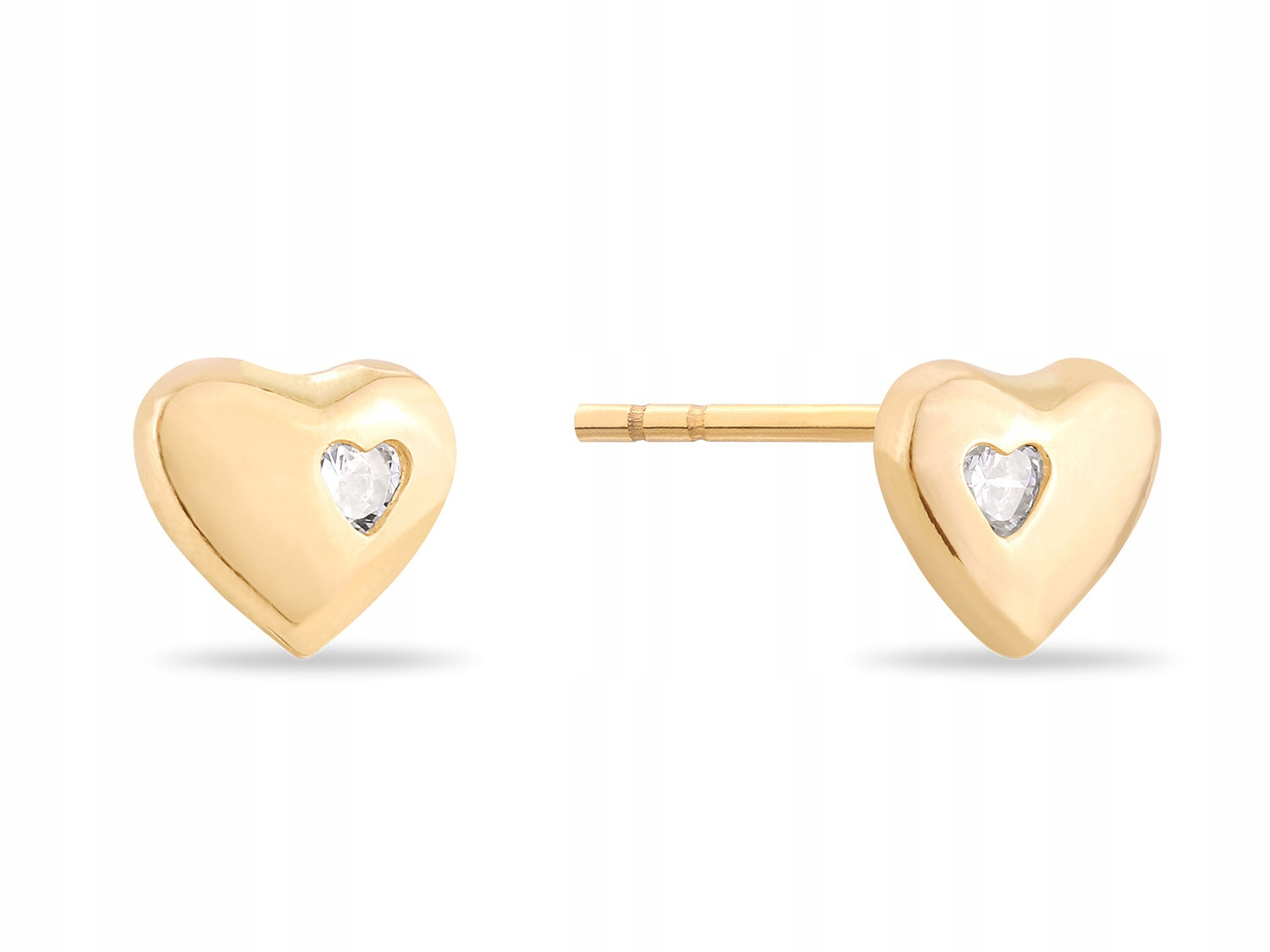 Item 585 gold earrings for girls HEART 6mm