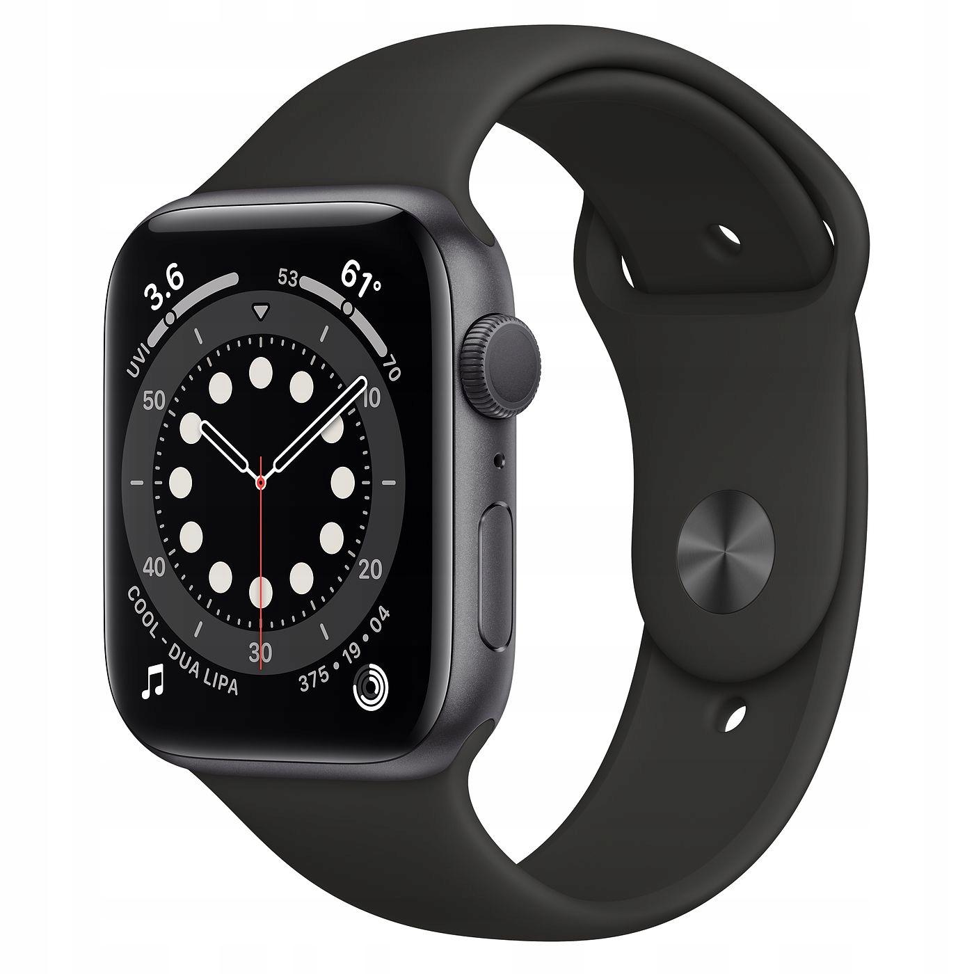 Apple Watch 6 44mm czarny od ręki FV23%