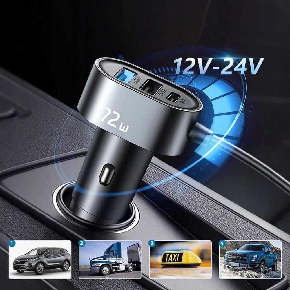 Ładowarka Samochodowa 72W 5-portów USB (JR-CL05) Waga produktu z opakowaniem jednostkowym 0.2 kg