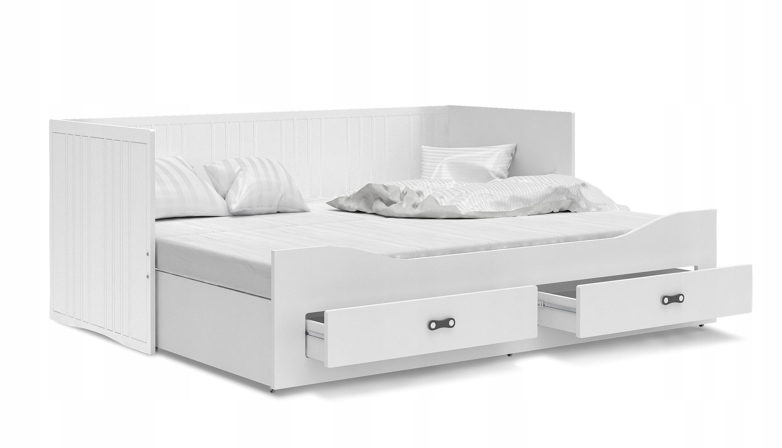 Łóżko rozkładane HERMES materace szuflady białe Szerokość mebla 204 cm