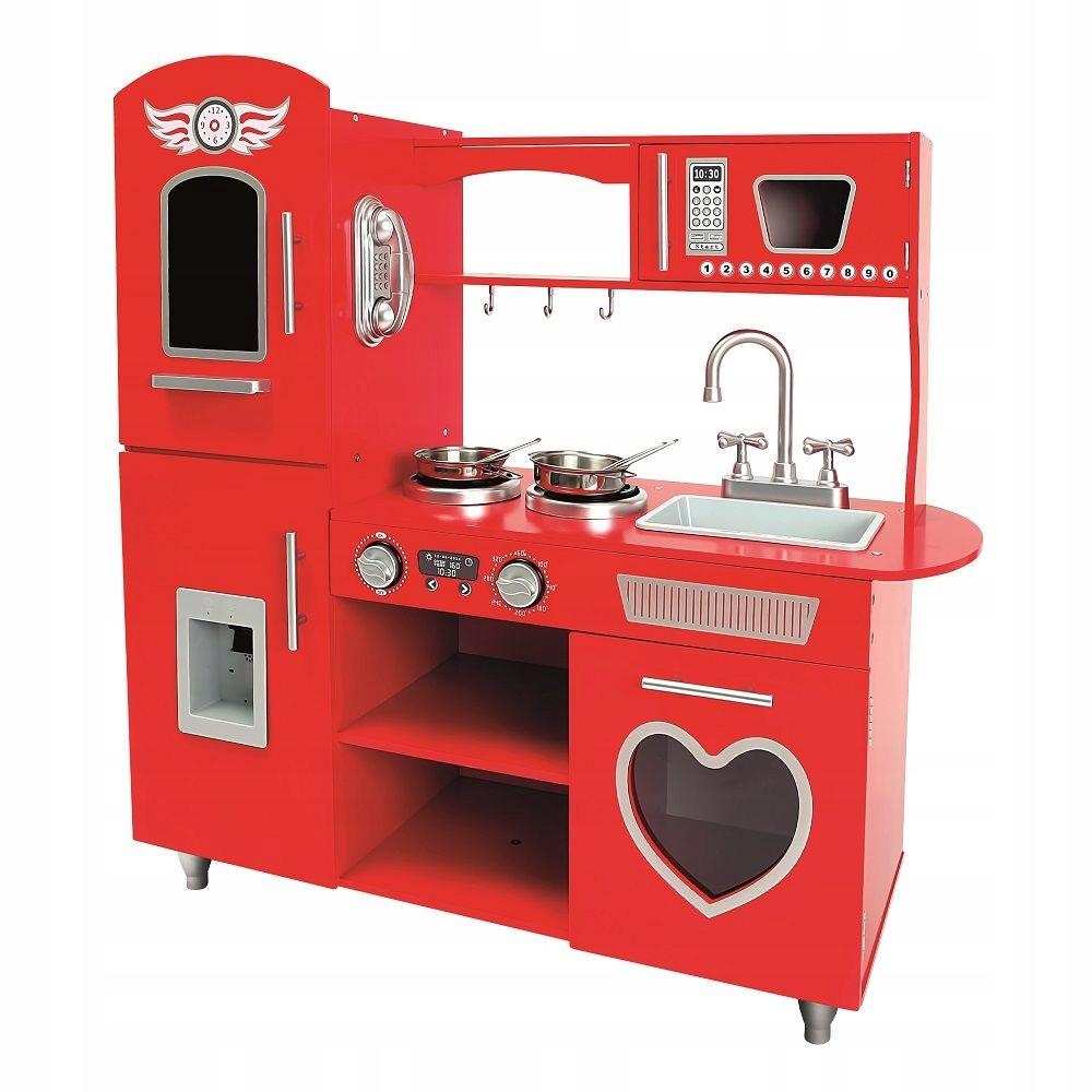 Bino Drevená červená veľká kuchyňa so srdiečkom