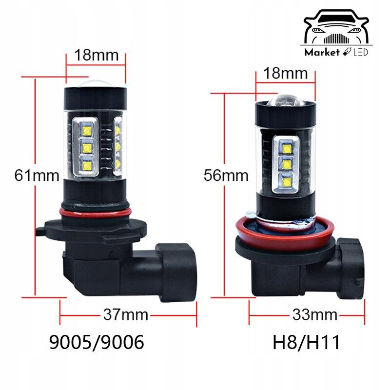 H11 - LED - Zamiennik H11 - 16 CREE XBD 80W Typ żarówki H11
