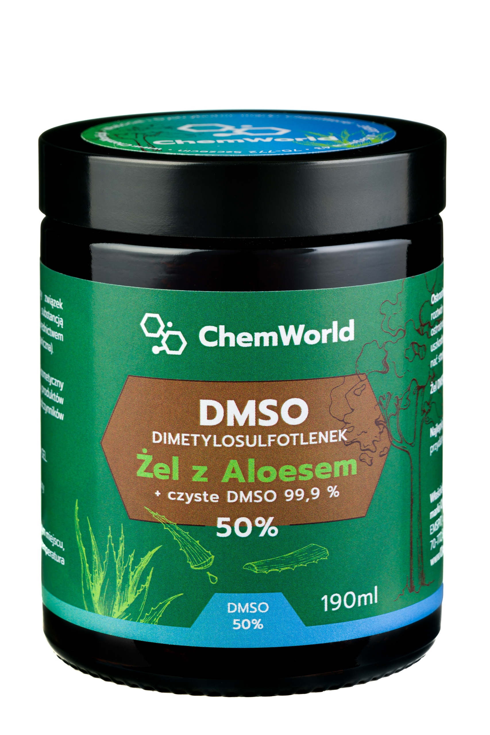 DMSO 99,9% Żel Moc 50% z Aloesem 99% natura 190 ml