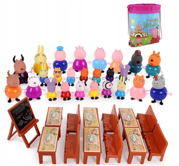 Figúrky Peppa Pig 38 ks Školská + taška