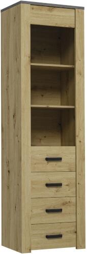 XL W1D шкаф-витрина 57 см с полками и ящиками