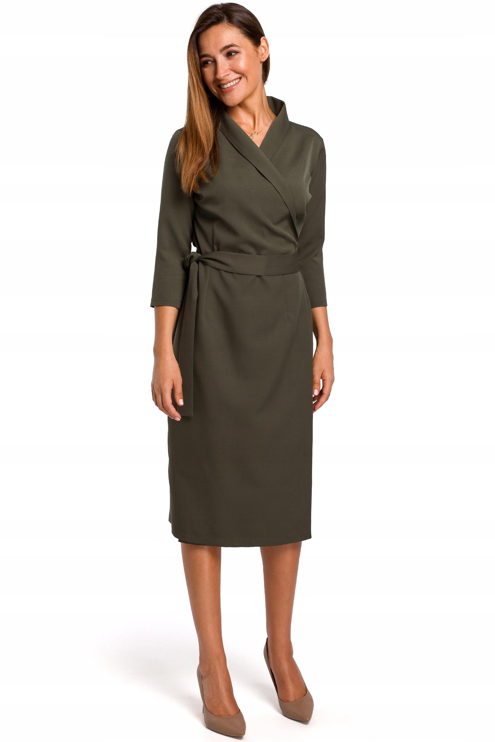 S175 Sukienka na zakładkę z paskiem - khaki 40   L