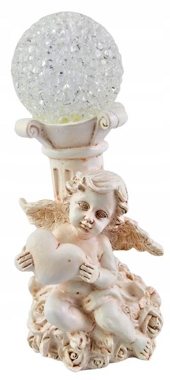 Figurka Anioł ANIOŁEK Led z kulą dekoracyjna 15cm Kolor biały