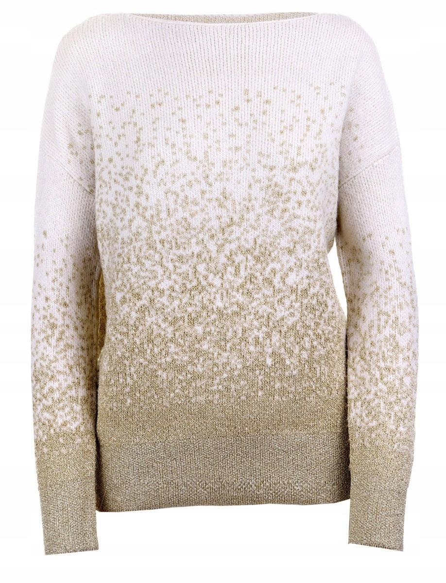 Reserved Sweter damski ze złotą nitką wełna r. L