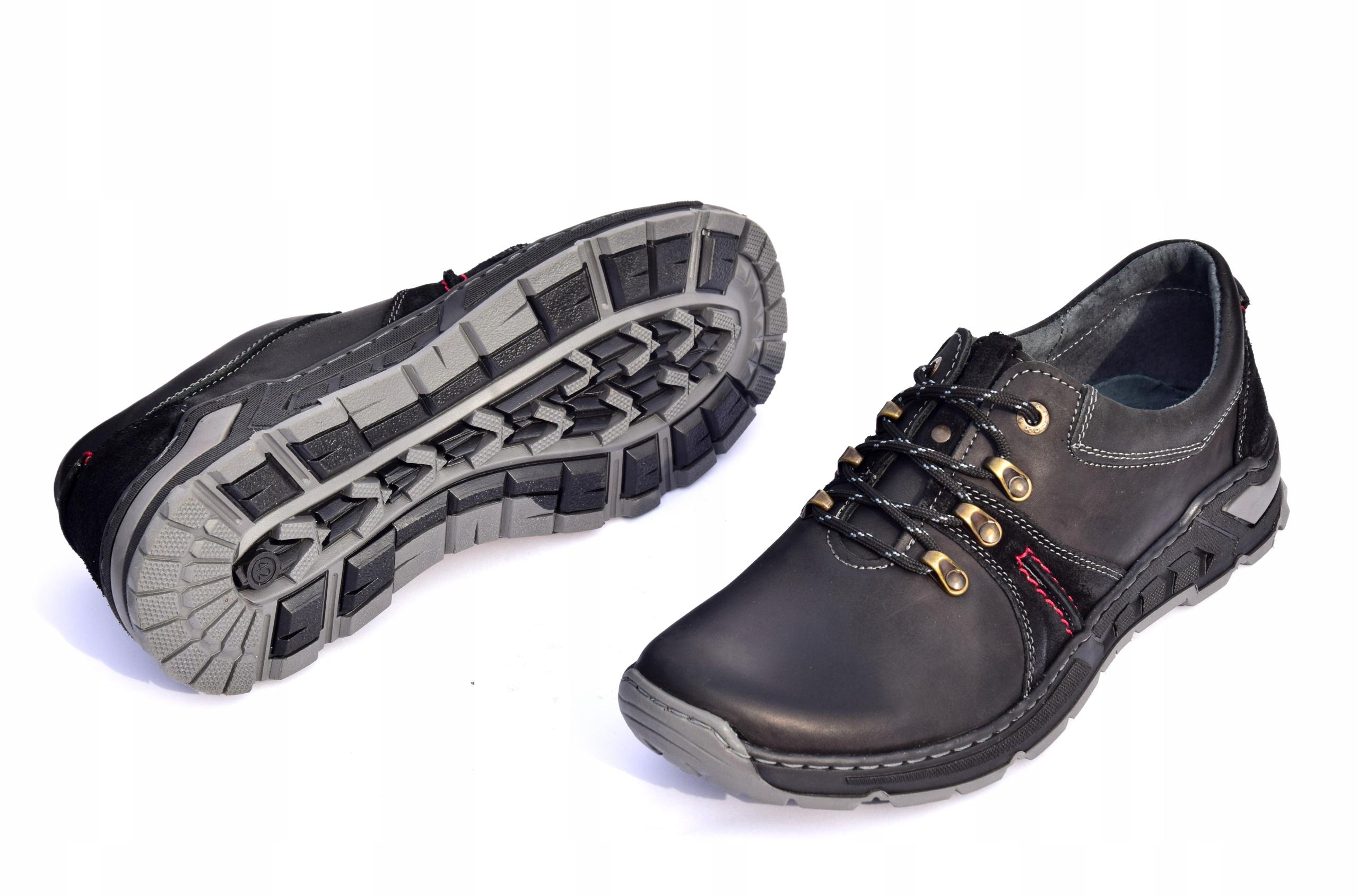 Półbuty trekkingowe obuwie skórzane polskie 0242 Materiał zewnętrzny skóra naturalna