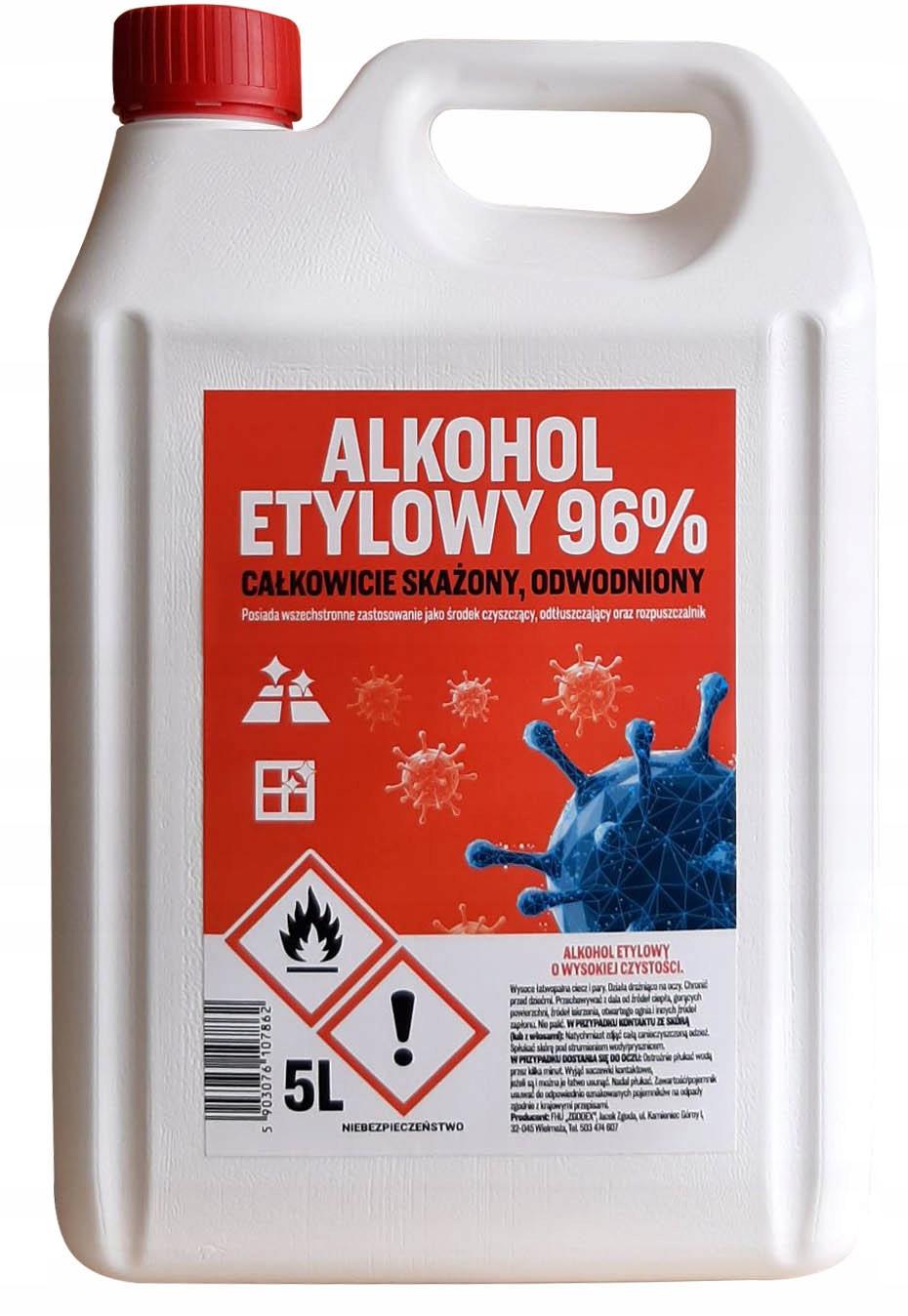 ALKOHOL ETYLOWY ETANOL DEZYNFEKCJA SPIRYTUS 96% 5l 9611615877 - Allegro.pl