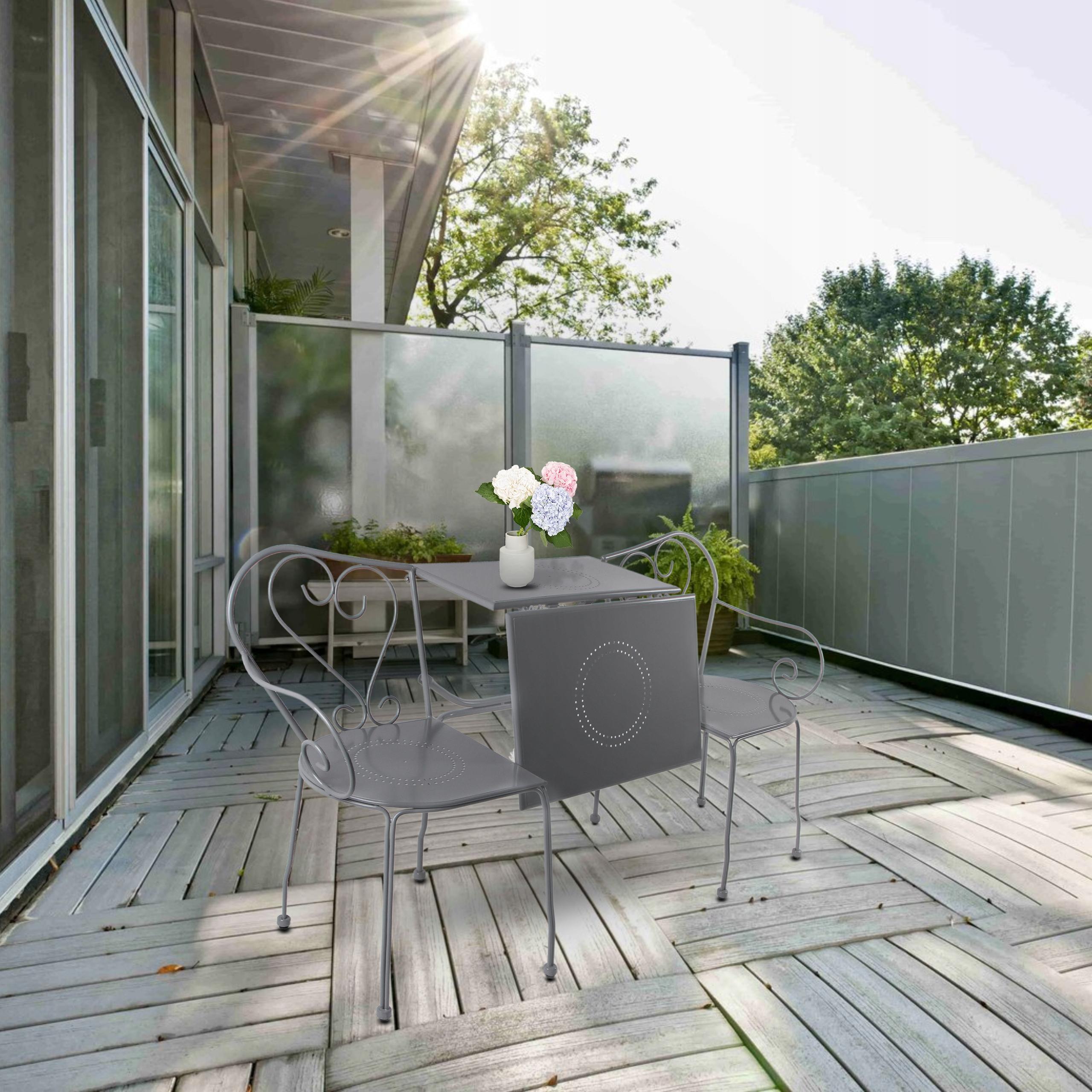 Sada záhradného nábytku Stolné stoličky 3v1 Dominantným materiálom je kov