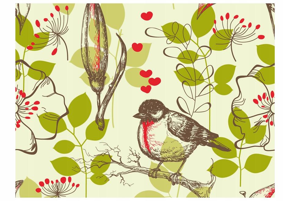 Nástenné maľby 350x270cm Vtáka a kvetina tému vintage