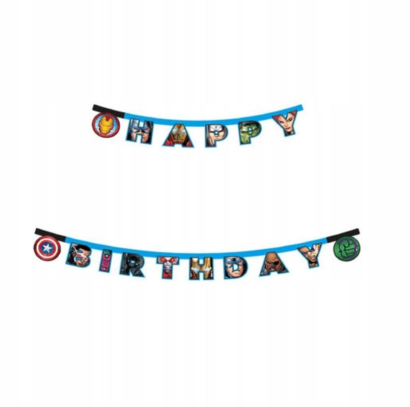 Баннер с Днем Рождения на День Рождения Мстителей - 200 CM