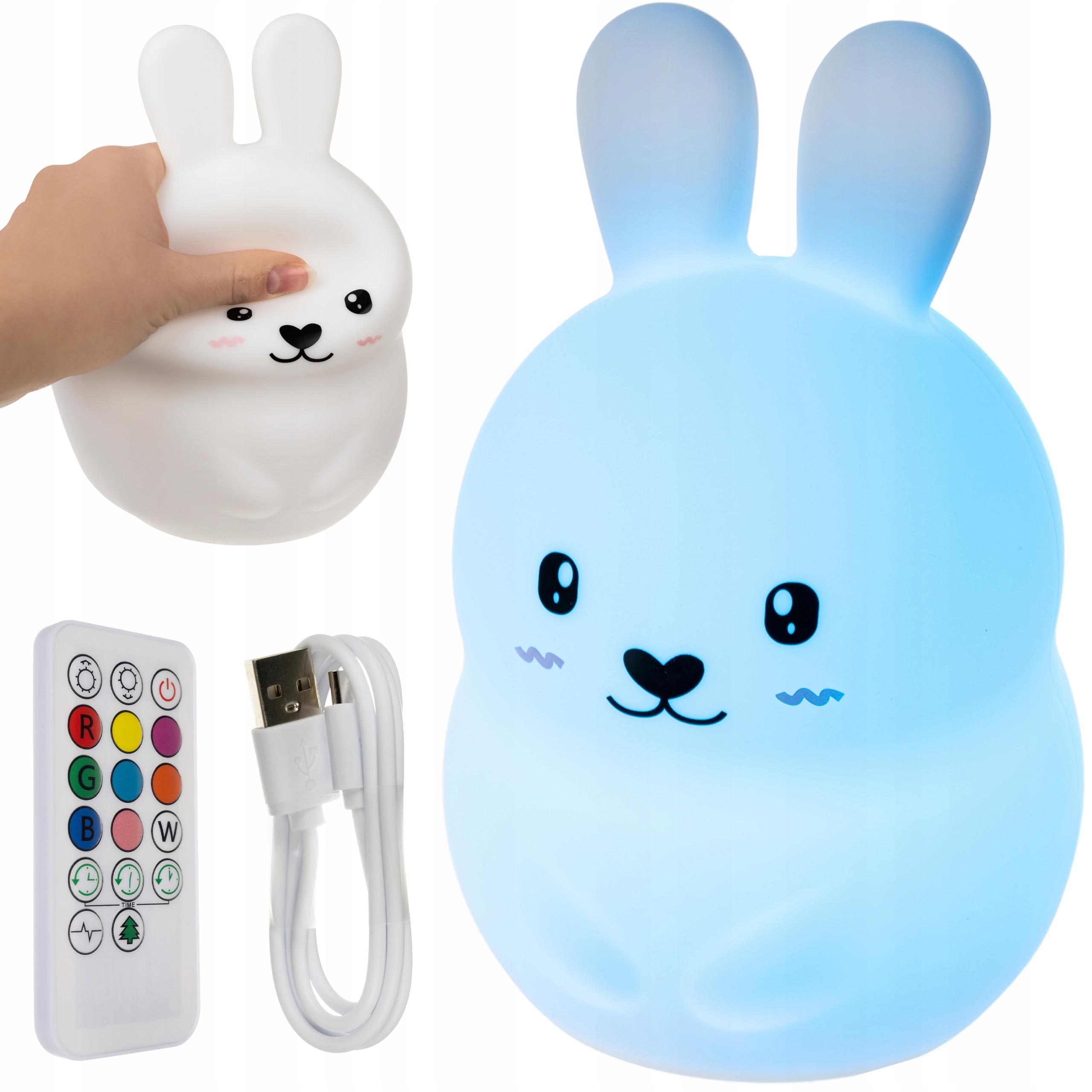 Lampka Nocna LED dla Dzieci Królik RGB + Pilot