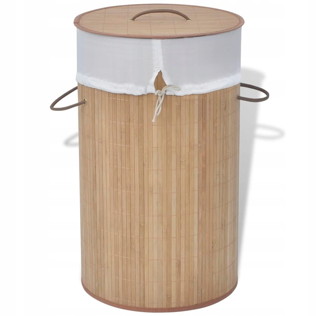 Bambusový kôš na prádlo - okrúhly, prírodný kruh
