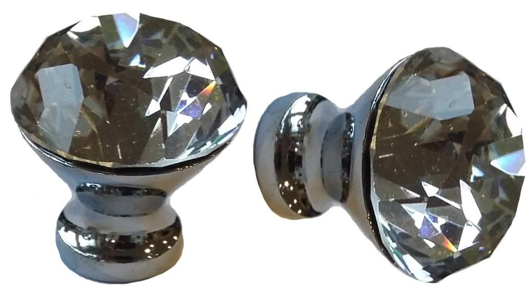 Kryształowa gałka, uchwyt do mebli bezbarwny 30 mm