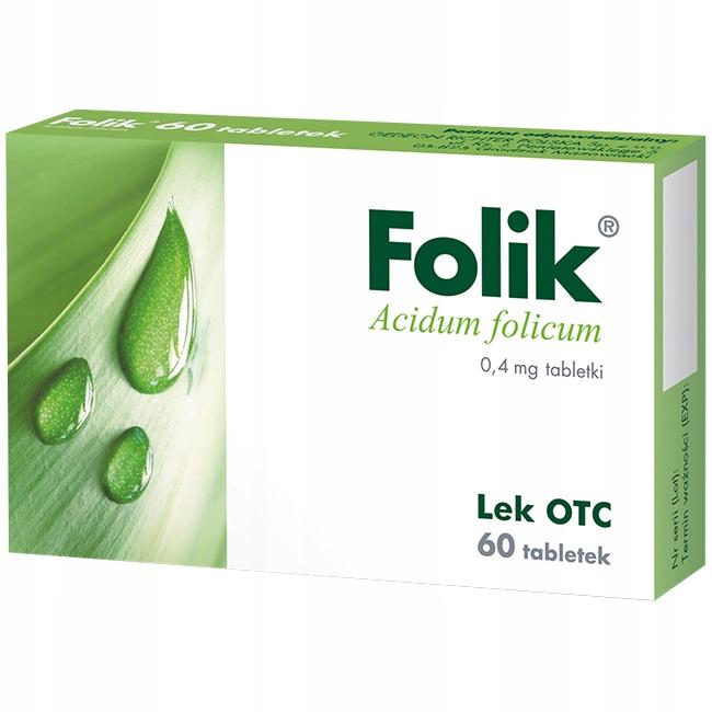 Folik 0,4mg kwas foliowy lek Acidum folicum 60x