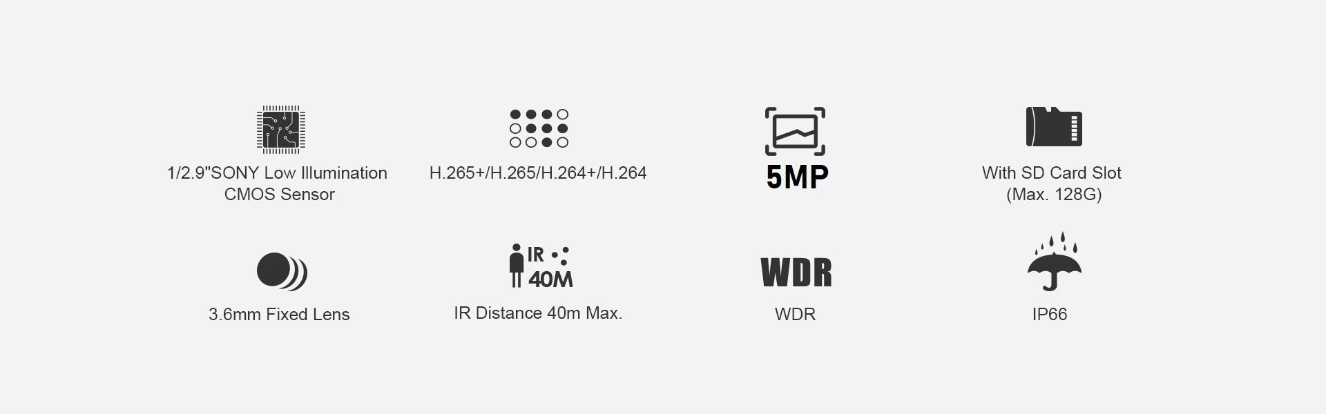 KAMERA IP WIFI 5MPX KOPUŁOWA mSD 128GB Ir40m 3,6mm Obiektyw stałoogniskowy