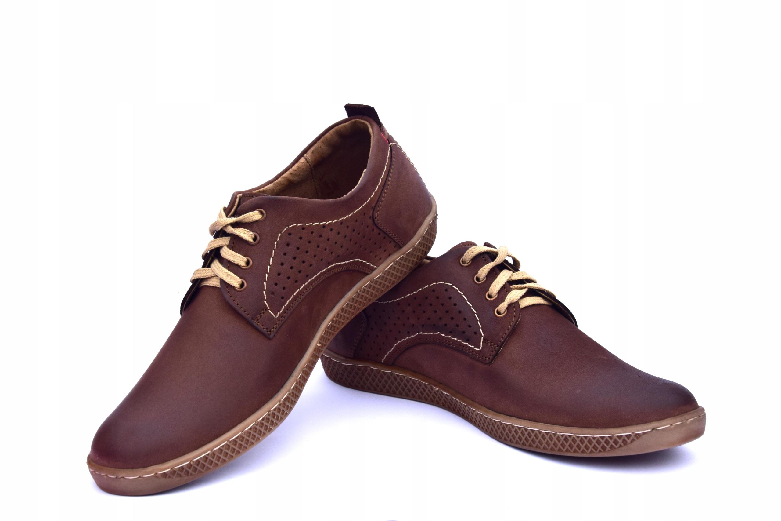 Półbuty skórzane męskie brązowe buty polskie 302 Okazja eleganckie