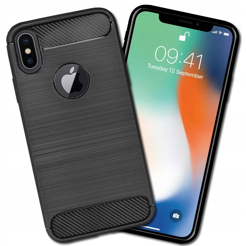 Czarne Etui Pancerne Carbon do Apple Iphone X