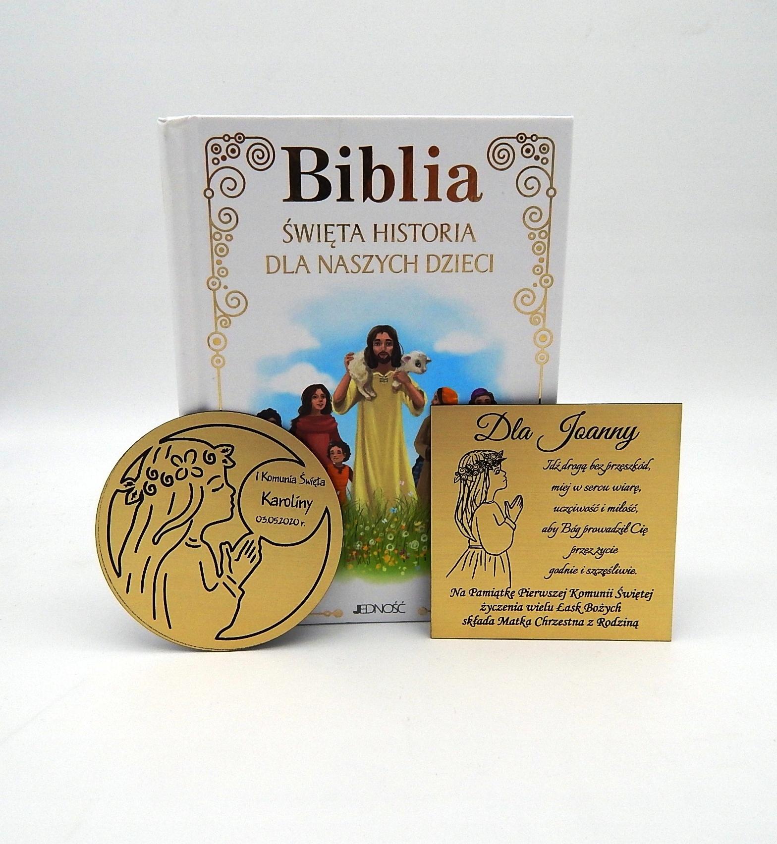 BIBLIA Z GRAWEREM NA KOMUNIĘ KOMUNIA ŚWIĘTA GRAWER Wydawnictwo Jedność