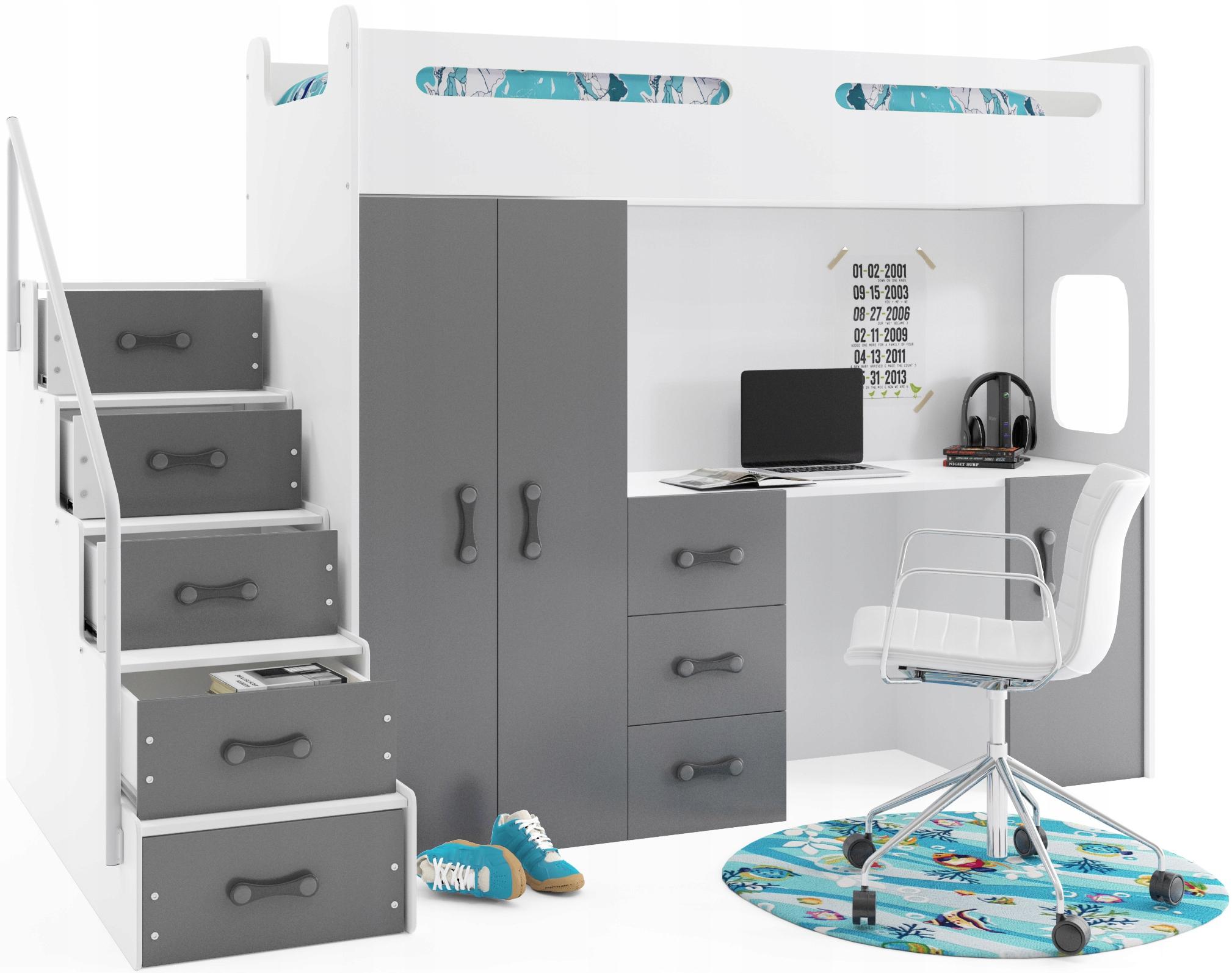 Łóżko piętrowe +Szafa Max 4 200x80 z biurkiem