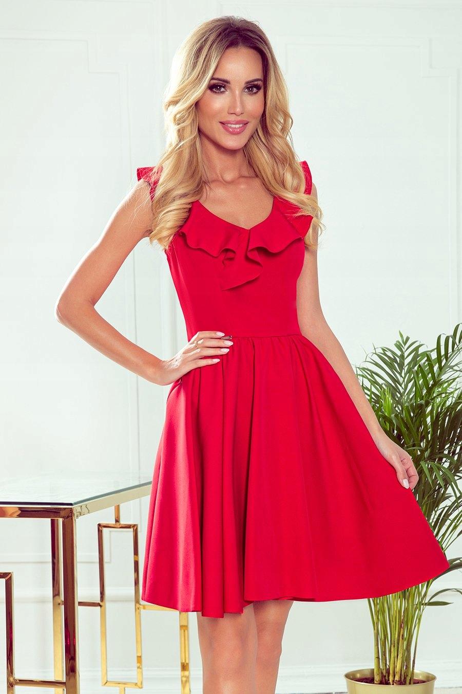 Sukienka z falbankami na dekolcie czerwona 307-1 L