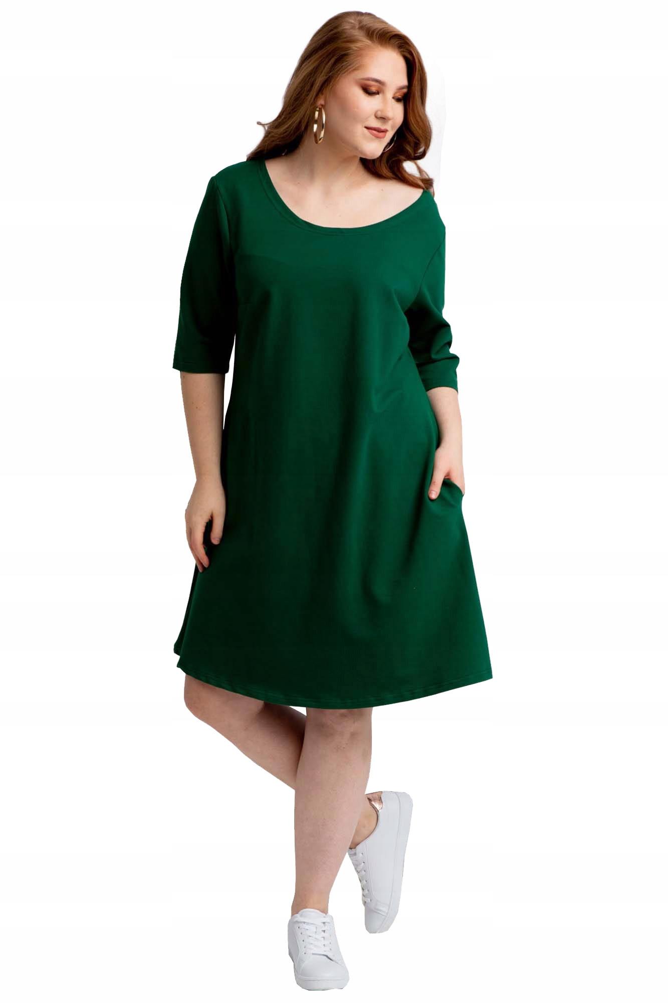 Sukienka trapezowa dres Hana butelkowa zieleń 40
