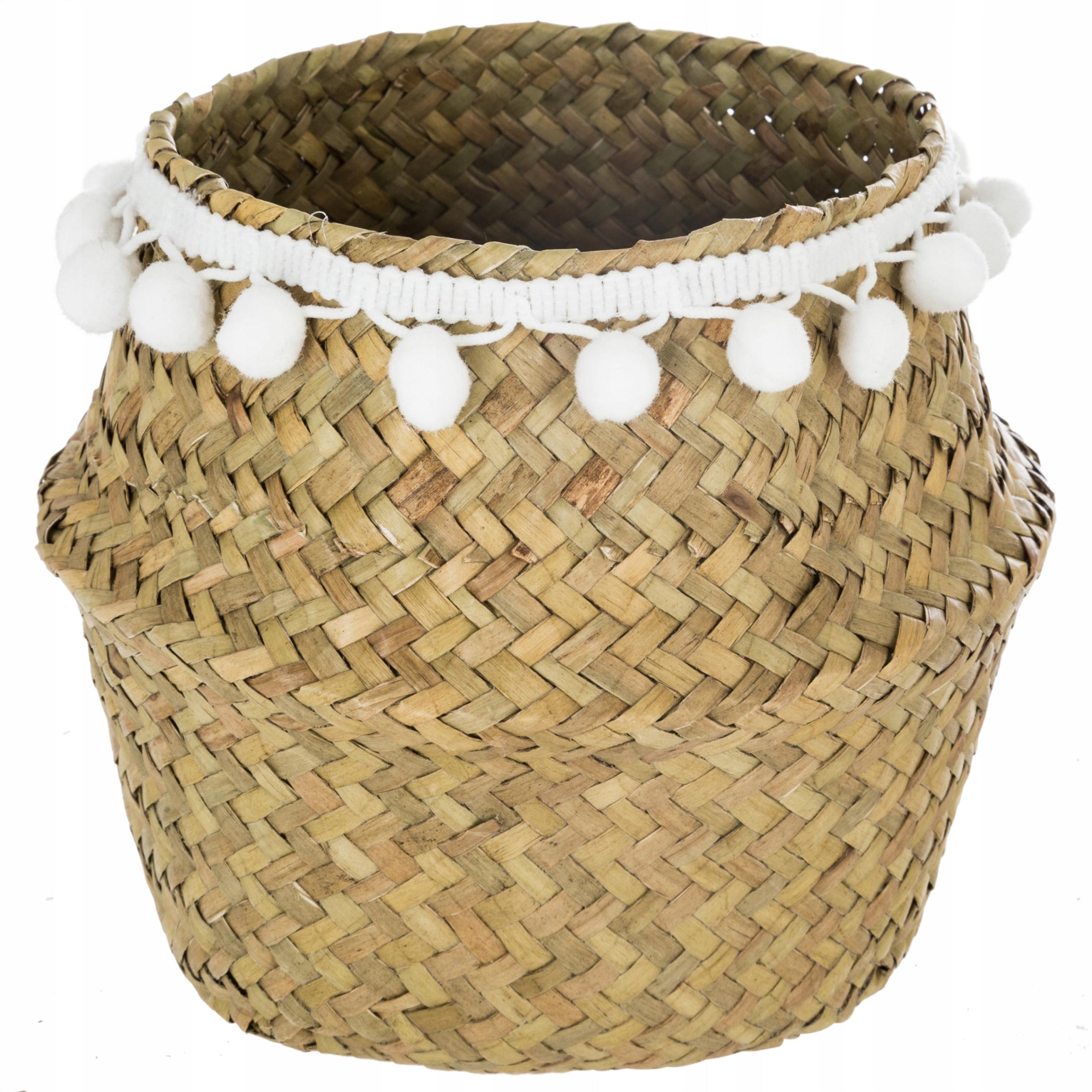 Koszyk z trawy morskiej z pomponami naturalny