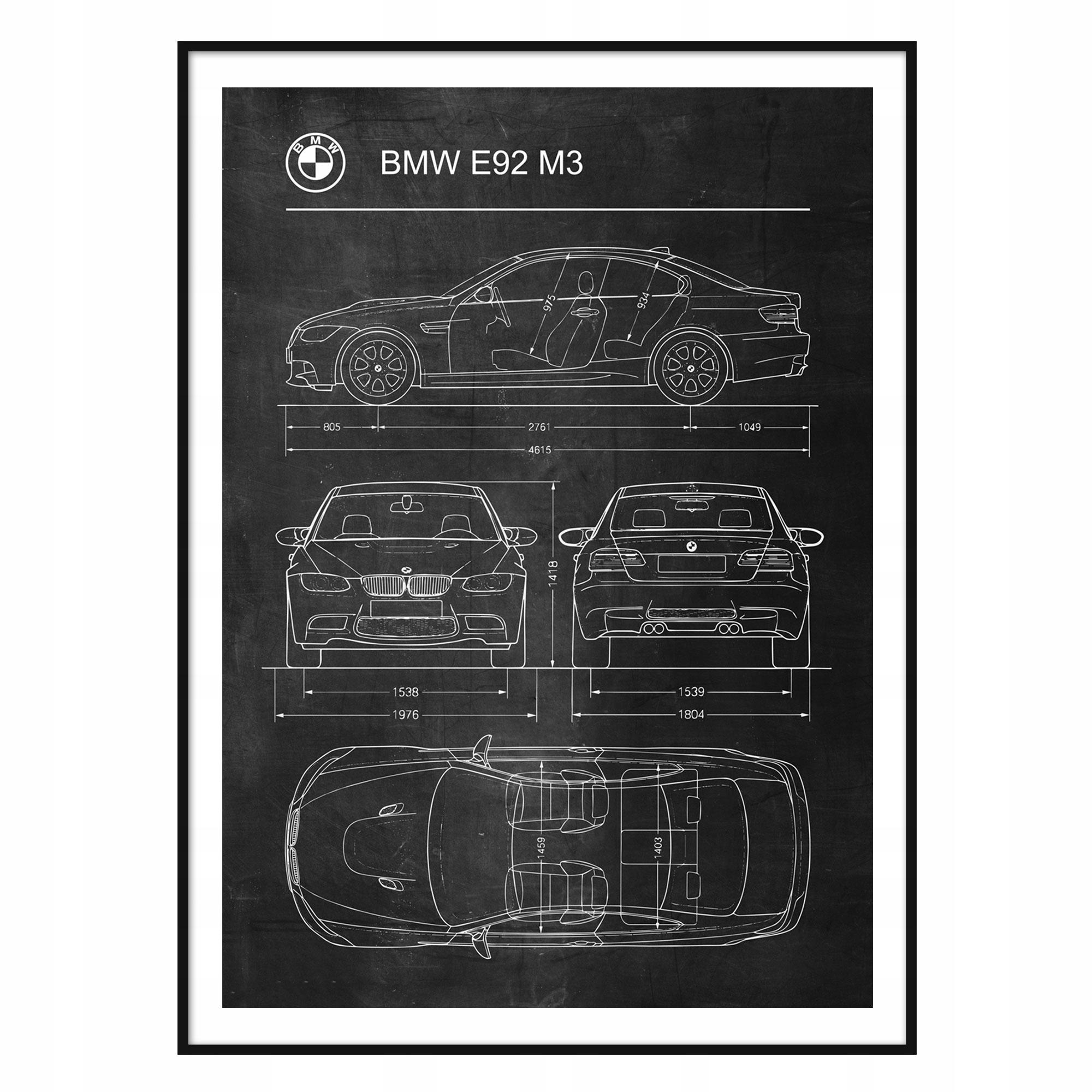 Plagát BMW E92 M3 Retro-Patent Schémy Plagát