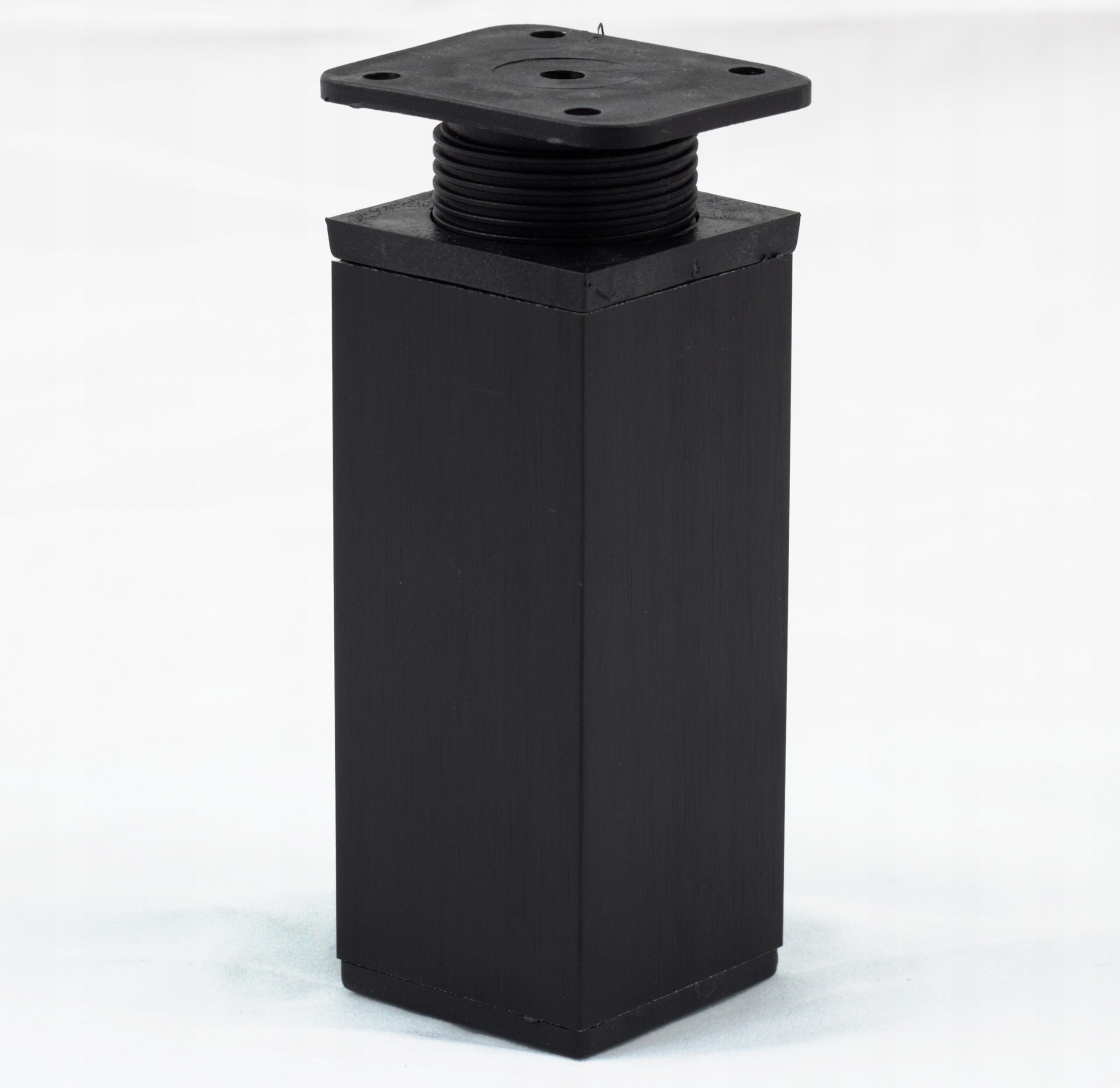4x Nóżki meblowe czarne regulowane 40x40x100 mm