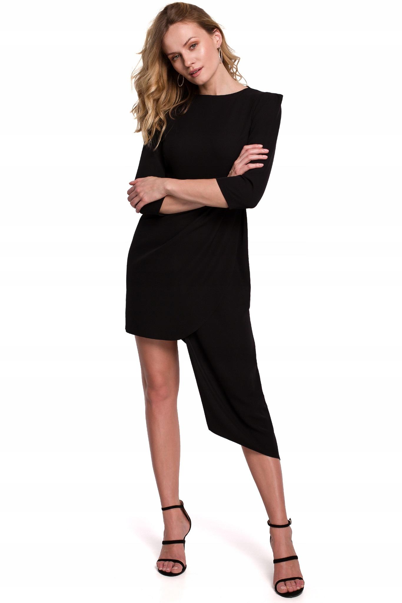 Nowoczesna Elegancka Sukienka Asymetryczna L