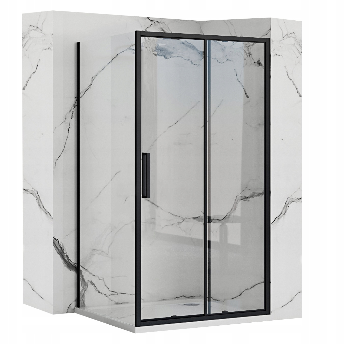 Čierna posuvná sprchová kabína Rapid 90x160 cm
