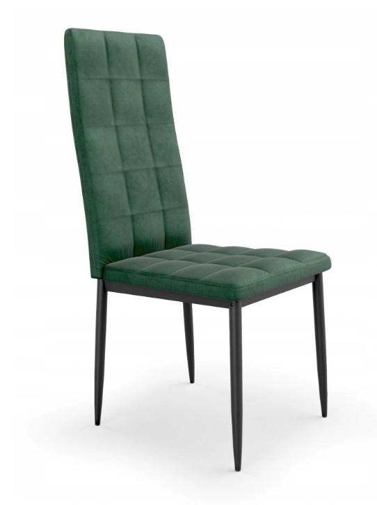 Krzesło Tapicerowane Pikowane Ciemny Zielony Welur