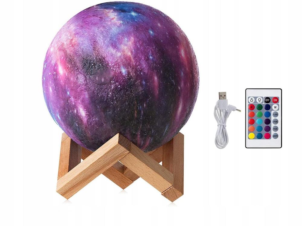 LAMPKA NOCNA KSIĘŻYC 3D RGB MOON LIGHT Z PILOTEM