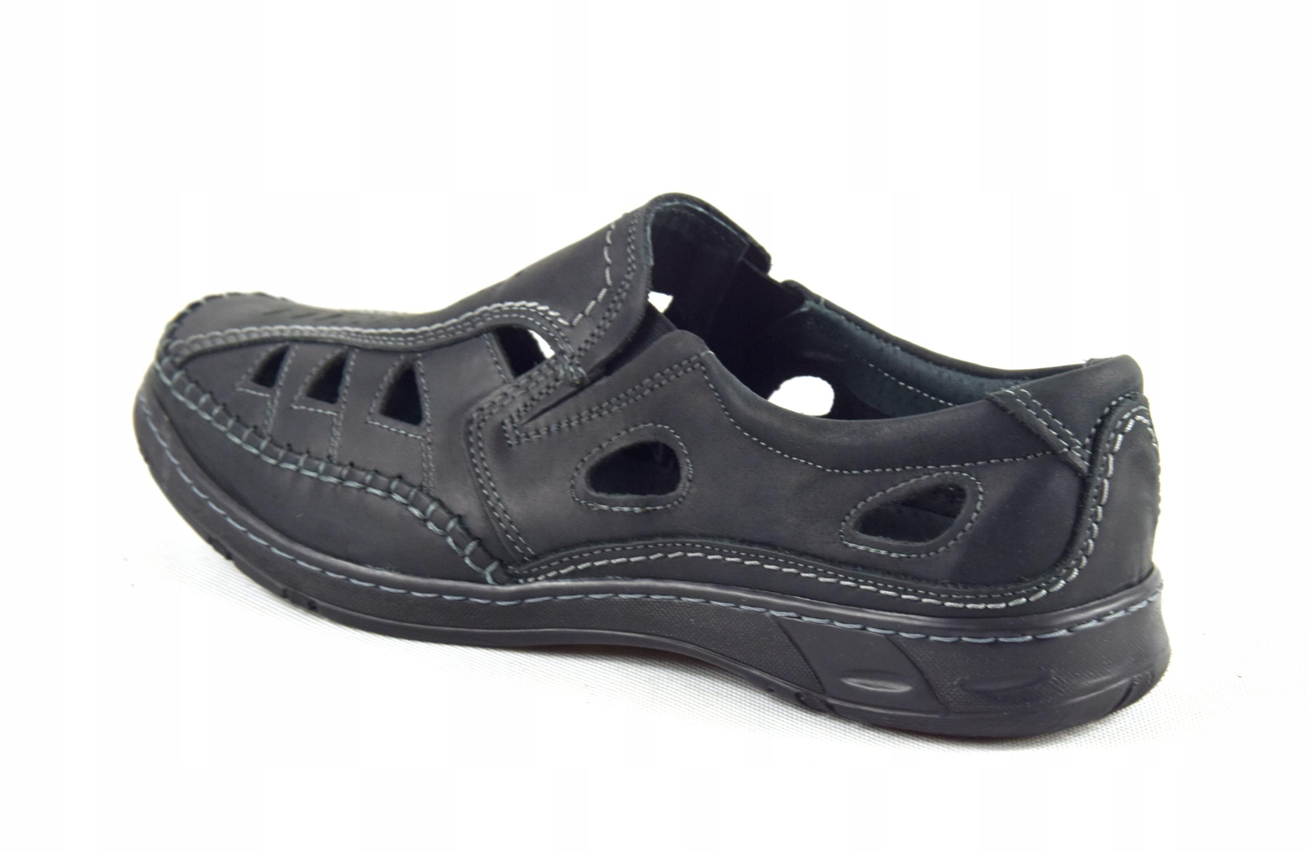 Męskie buty skórzane polskie mokasyny skóra 0270CC Kolor czarny