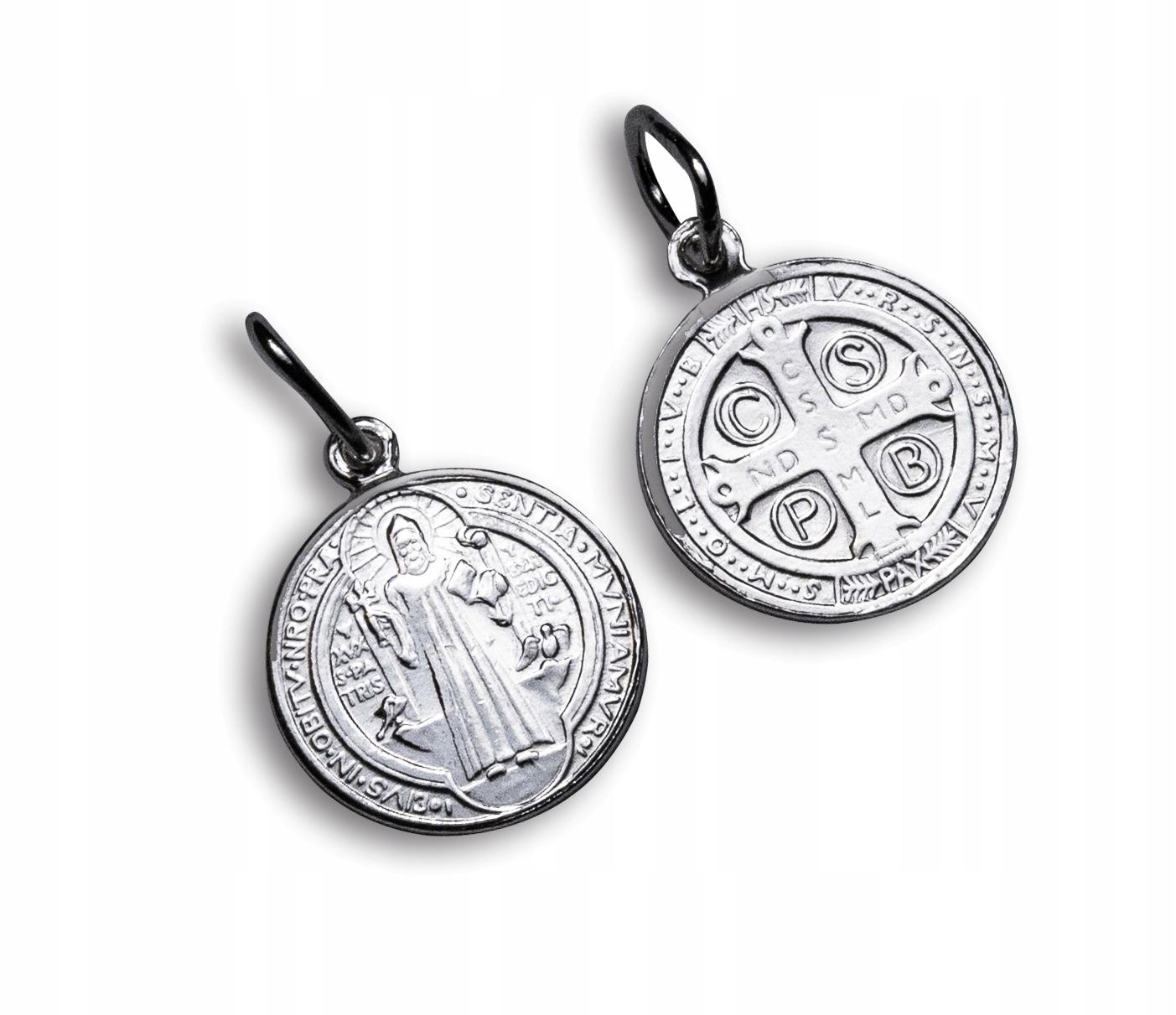 Strieborný 1 cm Medal Cross Saint. Benedykta IHS PR.925