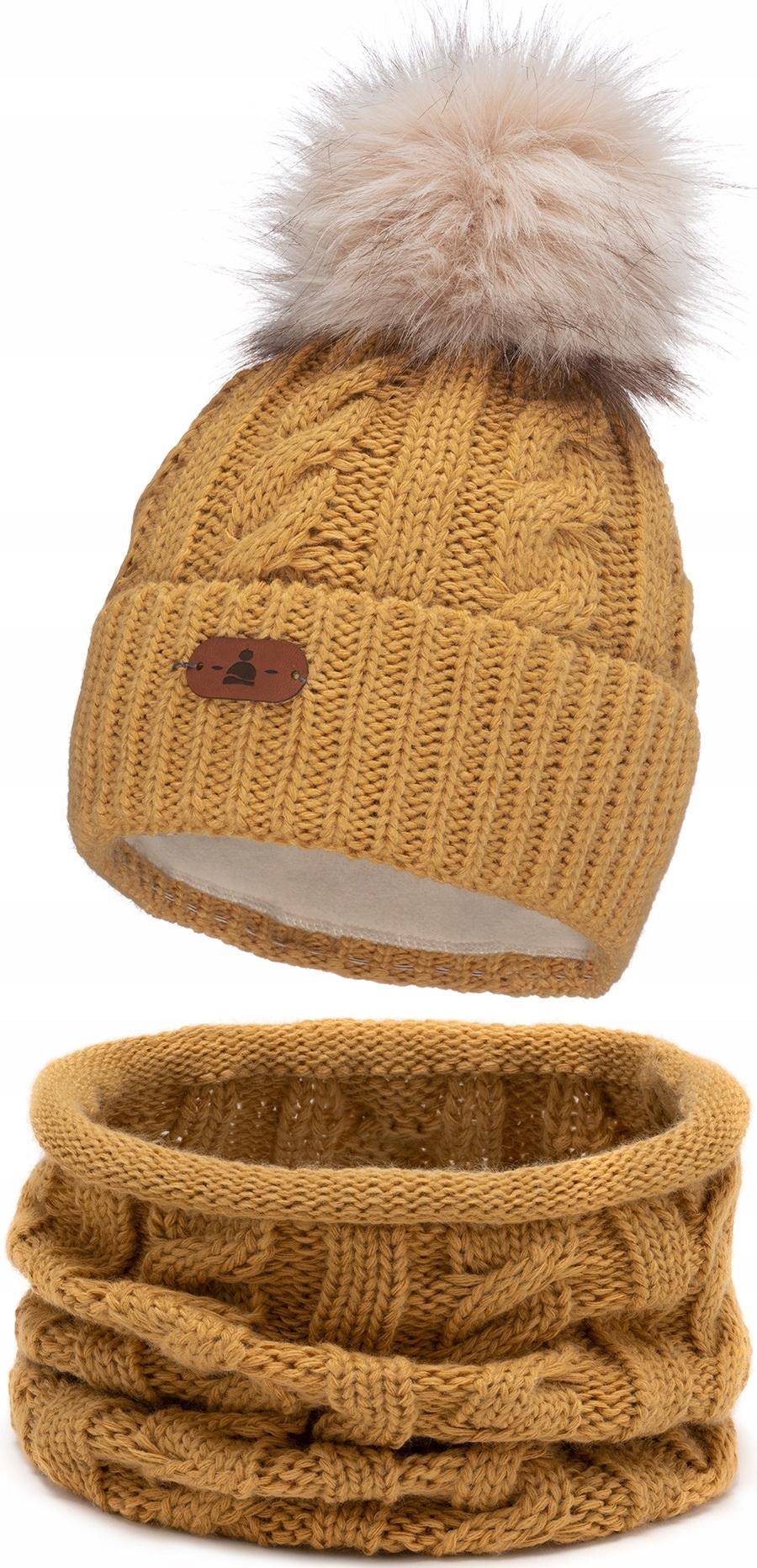 Зимняя шапка с помпоном каминный набор Горчица