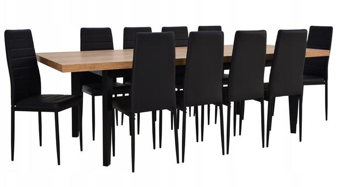 Stół drewniany 100x200/300 10 krzeseł welur LOFT