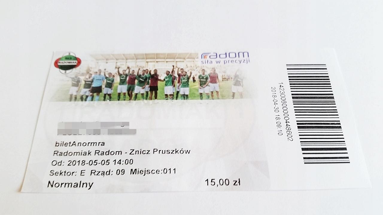 bilet RADOMIAK Radom - ZNICZ Pruszków 05.05.2018