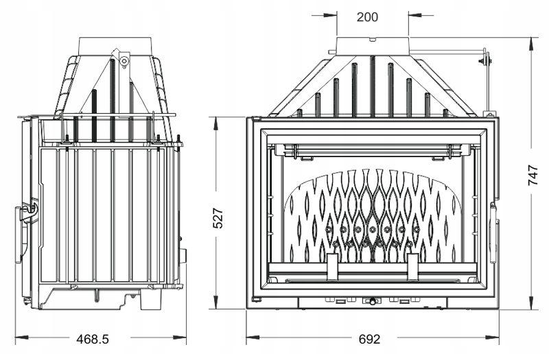 Wkład kominkowy INVICTA 700 GRANDE VISION ECO z sz Waga produktu z opakowaniem jednostkowym 133 kg