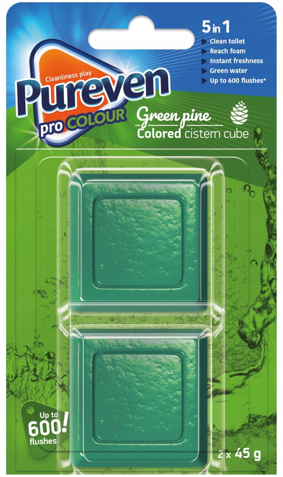 Pureven Зеленая окраска Флеш Куб Туалет x2 Великобритания