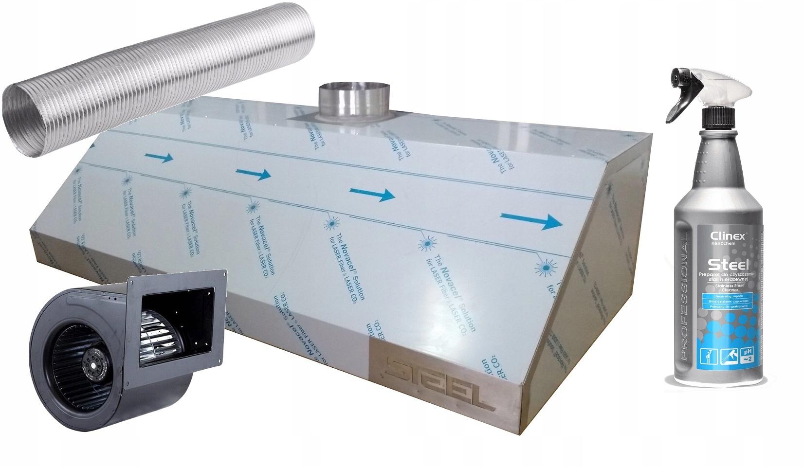Okap gastronomiczny 250/70 filtr wyciąg 1750 m3hMM